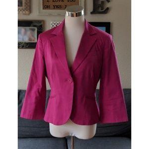 Fuschia one button 3/4 sleeved blazer